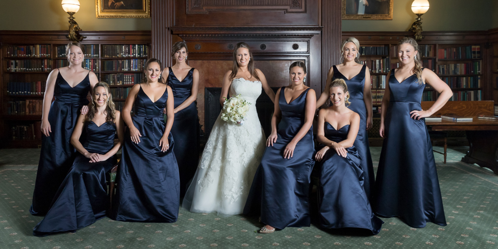 bridesmaids posing, wedding party, navy bridesmaids, metropolitan club wedding, candid photography