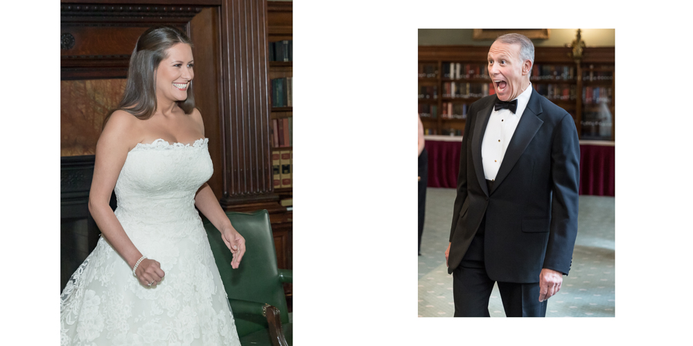 father first look, bride surprised, oscar de la renta, metropolitan club wedding, candid photography