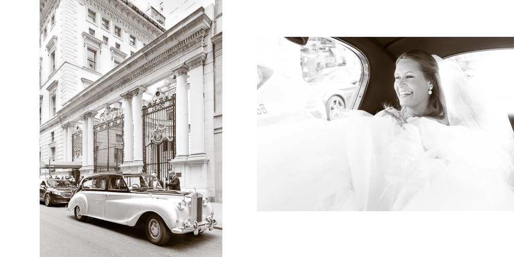 rolls royce, ny wedding, black and white photography, metropolitan club wedding, candid photography