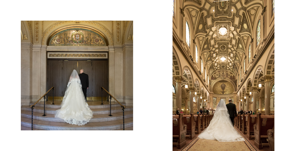 st ignatius loyola entrance, church wedding, oscar de la renta gown, candid photography,