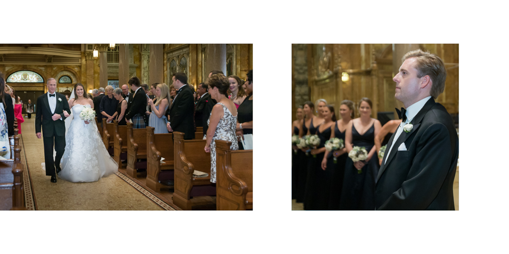 st ignatius loyola entrance, church wedding,  processional, bride and father, candid photography