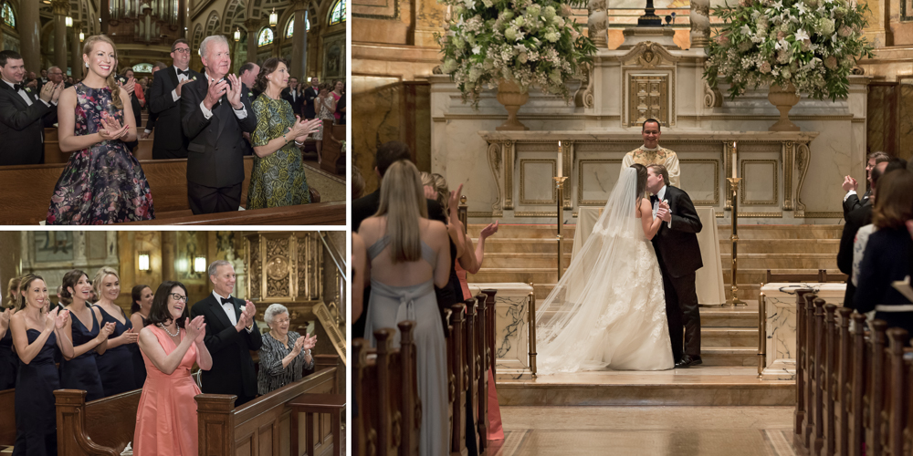 st ignatius loyola church wedding, candid photography, best ny wedding photographer, first kiss