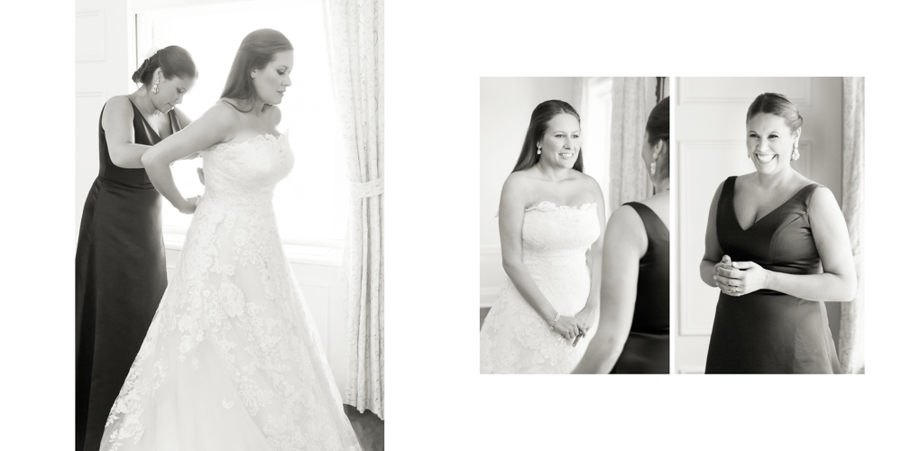 bride getting ready, black and white photography, metropolitan club wedding, candid photography